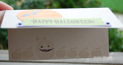 Halloween card bats and moon inside