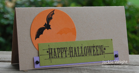 Hallowe'en card bats and moon