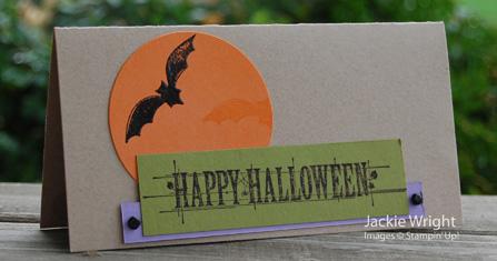 Hallowe'en card bats andmoon