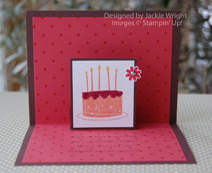 Happy Birthday pop-up card Groovy Guava inside