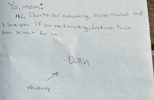 Mothers Day card from Dallin 2009 inside