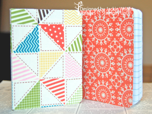 fabric covered notebooks - www.jackiestamps4fun.wordpress.com